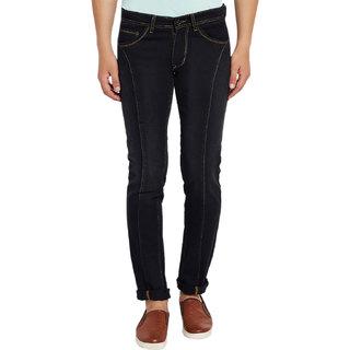 Stylox Men's Premium Streachable Slim Fit Casual Wear Mid Rise Black Jeans