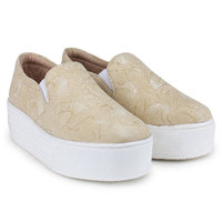Zapatoz Women's Cream Sneakers