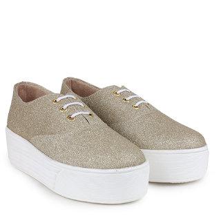 zapatoz Women's Gold Sneakers