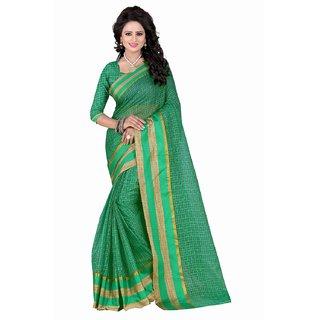 Rite Creation Mart Green Color Poly Cotton Printed Saree -RI286SGreenPC-221