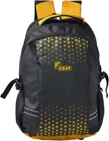 F Gear Lone Wolf Laptop Backpack With Rain Cover 34 Liters (Black, Yellow) Sch Bag