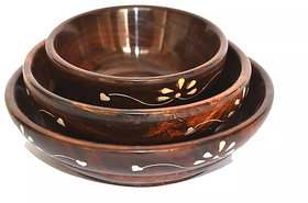 Wooden Serving Bowl/Salad bowl- Set of 3pcs