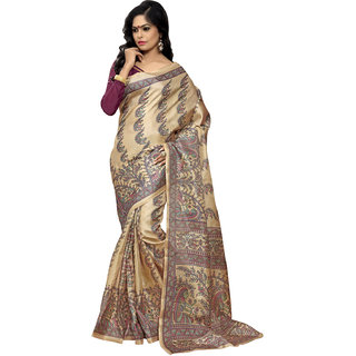 Swaron Beige and Purple Colored Printed Cotton Silk Saree