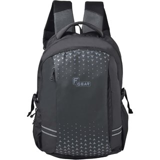 F Gear Lone Wolf Laptop Backpack With Rain Cover 34 Liters (Black Grey) Sch Bag