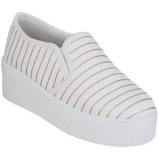 Blinder Women's White Golden  Ladies Trendy Shoes