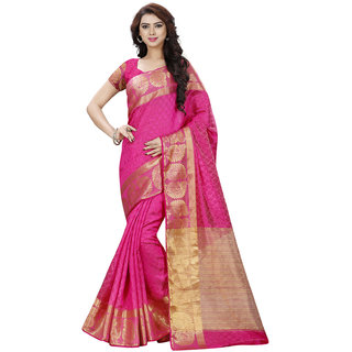 Swaron Pink and Gold Colored Dobby Silk Saree