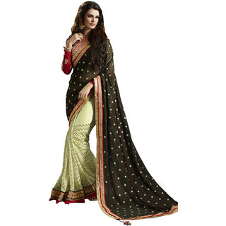 Swaron Green and Red Colored Embellished Net with Sequins Saree