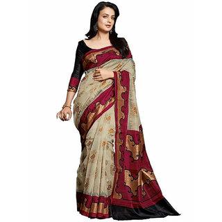 Swaron Beige and Black Colored Printed Bhagalpuri Silk Saree