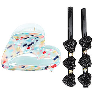 Glazed Heart Shaped Jaw Clip And Hair Pin (1 Blue Jaw Clip + 2 Black Hair Pin)