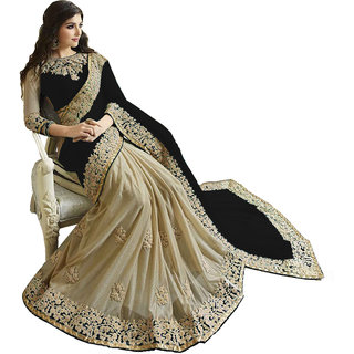 434c5d9ce551d1 Buy Women s Black Georgette+Lycra Sari With Banglore Silk Blouse Online -  Get 52% Off
