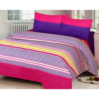 Bright Vibrant Multicolored Stripe Design Printed Cotton Double Bed Sheet  With Pillow Covers (Set Of