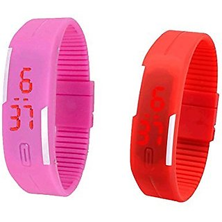 Shanti Enterprises Combo Pink and Red Digital LED Watch