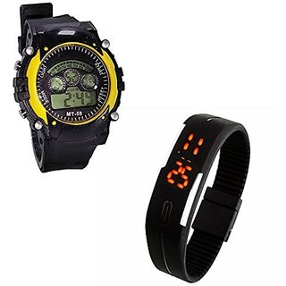 Shanti Enterprises Combo Black Digital LED Watch and Sports Watch Multi Color Dial For Kids