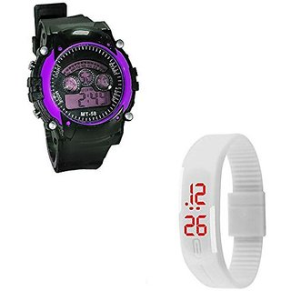 Shanti Enterprises Combo White Digital LED Watch and Sports Watch Multi Color Dial For Kids
