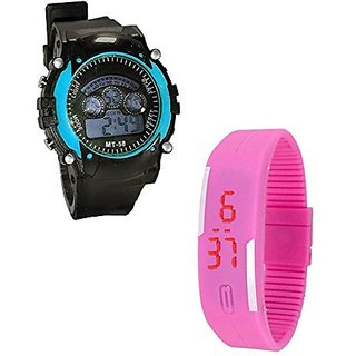 Shanti Enterprises Combo Pink Digital LED Watch and Sports Watch Multi Color Dial For Kids