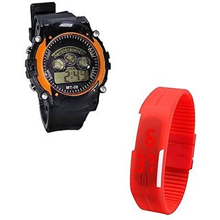 Shanti Enterprises Combo Red Digital LED Watch and Sports Watch Multi Color Dial For Kids