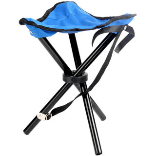 Foldable Blue Stool For Travelling, Camping, Car, Lawn and Home by Random