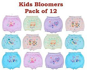 Kid's Cotton Multi-Color Printed Bloomers Set Of 12