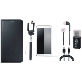 Vivo V7 Plus Premium Leather Cover with Memory Card Reader, Free Selfie Stick, Tempered Glass, Earphones and USB Cable