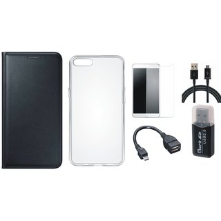 Vivo V7 Plus Premium Leather Cover with Memory Card Reader, Silicon Back Cover, Tempered Glass, OTG Cable and USB Cable