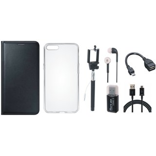 Vivo V7 Plus Premium Leather Cover with Memory Card Reader, Silicon Back Cover, Selfie Stick, Earphones, OTG Cable and USB Cable
