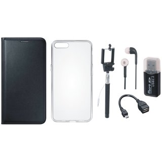 Vivo V7 Plus Premium Leather Cover with Memory Card Reader, Silicon Back Cover, Selfie Stick, Earphones and OTG Cable