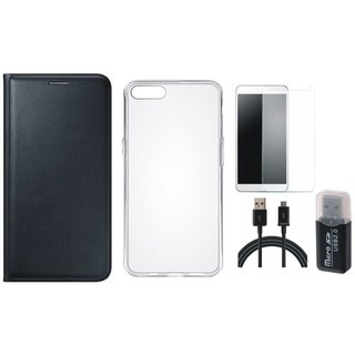 Vivo V7 Plus Premium Leather Cover with Memory Card Reader, Silicon Back Cover, Tempered Glass and USB Cable