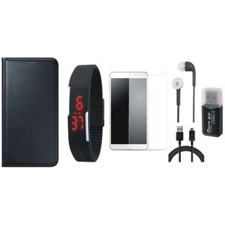 Vivo V7 Plus Premium Leather Cover with Memory Card Reader, Free Digital LED Watch, Tempered Glass, Earphones and USB Cable