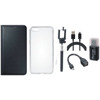 Vivo V7 Plus Premium Leather Cover with Memory Card Reader, Silicon Back Cover, Selfie Stick, OTG Cable and USB Cable