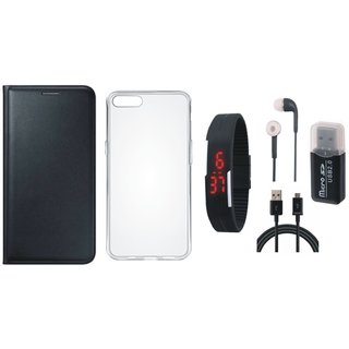 Vivo V7 Plus Premium Leather Cover with Memory Card Reader, Silicon Back Cover, Digital Watch, Earphones and USB Cable
