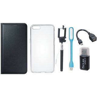 Vivo V7 Plus Premium Leather Cover with Memory Card Reader, Silicon Back Cover, Selfie Stick, LED Light and OTG Cable