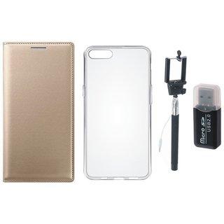 Vivo V7 Plus Cover with Memory Card Reader, Silicon Back Cover, Free Silicon Back Cover and Selfie Stick