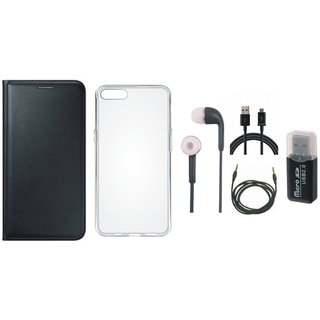 Vivo V7 Plus Premium Leather Cover with Memory Card Reader, Silicon Back Cover, Earphones, USB Cable and AUX Cable