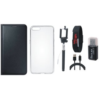 Vivo V7 Plus Premium Leather Cover with Memory Card Reader, Silicon Back Cover, Selfie Stick, Digtal Watch and USB Cable