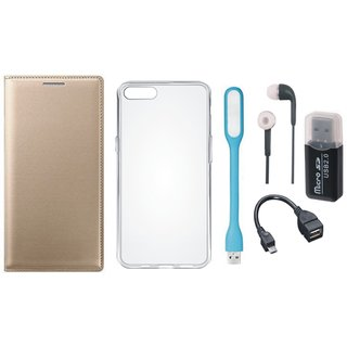 Vivo V7 Plus Leather Flip Cover with Kick Stand with Memory Card Reader, Silicon Back Cover, Earphones, USB LED Light and OTG Cable