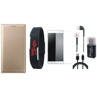 Vivo V7 Plus Leather Flip Cover with Kick Stand with Memory Card Reader, Free Digital LED Watch, Tempered Glass, Earphones and USB Cable