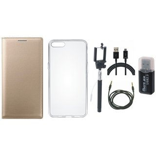 Vivo V7 Plus Leather Flip Cover with Kick Stand with Memory Card Reader, Silicon Back Cover, Selfie Stick, USB Cable and AUX Cable