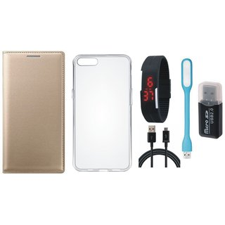 Vivo V7 Plus Leather Flip Cover with Kick Stand with Memory Card Reader, Silicon Back Cover, Digital Watch, USB LED Light and USB Cable
