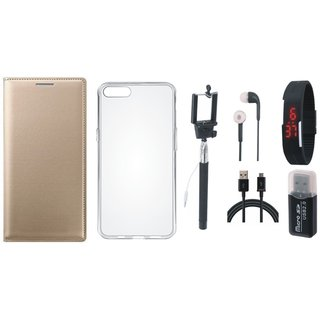 Vivo V7 Plus Leather Cover with Memory Card Reader, Silicon Back Cover, Selfie Stick, Digtal Watch, Earphones and USB Cable