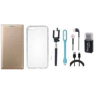 Vivo V7 Plus Leather Cover with Memory Card Reader, Silicon Back Cover, Selfie Stick, Earphones, USB LED Light and USB Cable