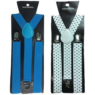 Atyourdoor Y- Back Suspenders for Men(Blue Wdot Design)