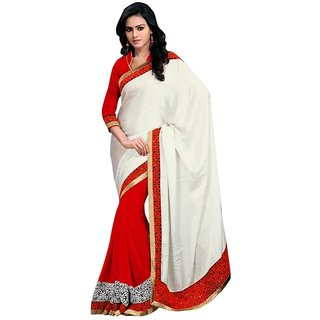 Triveni Red Georgette Embroidered Saree With Blouse