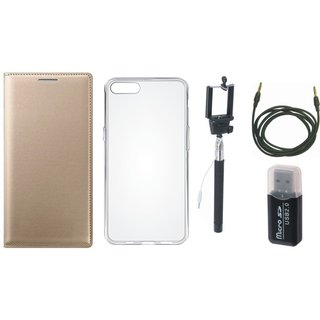 Moto C Plus Flip Cover with Memory Card Reader, Silicon Back Cover, Selfie Stick and AUX Cable