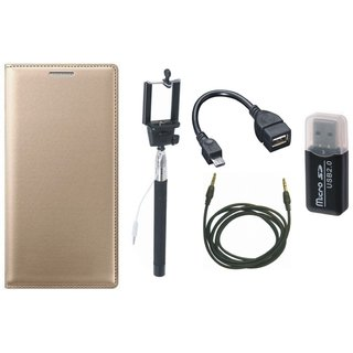 Moto C Plus Flip Cover with Memory Card Reader, Selfie Stick, OTG Cable and AUX Cable