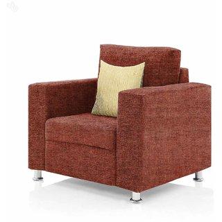LogRhythm Fully Upholstered Single-Seater Sofa - Premium Valencia Orange