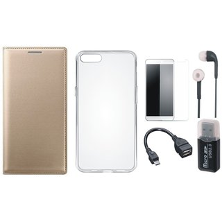 Moto C Plus Premium Leather Cover with Memory Card Reader, Silicon Back Cover, Tempered Glass, Earphones and OTG Cable