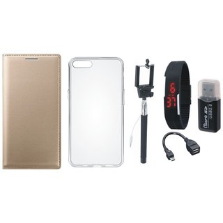 Moto C Plus Premium Leather Cover with Memory Card Reader, Silicon Back Cover, Selfie Stick, Digtal Watch and OTG Cable