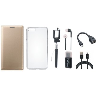 Moto C Plus Premium Leather Cover with Memory Card Reader, Silicon Back Cover, Selfie Stick, Earphones, OTG Cable and USB Cable
