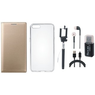 Moto C Plus Premium Leather Cover with Memory Card Reader, Silicon Back Cover, Selfie Stick, Earphones and USB Cable