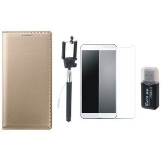 Moto C Plus Premium Leather Cover with Memory Card Reader, Free Selfie Stick and Tempered Glass